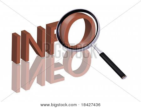 info button info icon info search Magnifying glass enlarging part of red 3D word with reflection