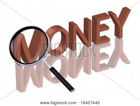 dinero buscar dinero botón dinero icono lupa ampliación de parte de la palabra 3D roja con reflexión