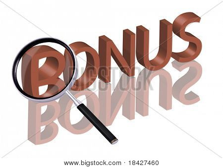 bonus button bonus icon Magnifying glass enlarging part of red 3D word with reflection