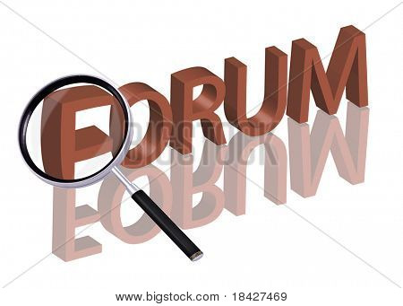forum button forum icon Magnifying glass enlarging part of red 3D word with reflection