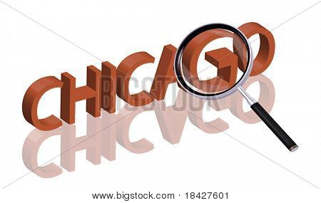 exploring city red letters in 3D part of word enlarged by magnifying glass Chicago city trip holiday tourism icon button travel traveling visit