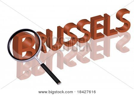 exploring city red letters in 3D part of word enlarged by magnifying glass Brussels Belgium city trip holiday tourism icon button travel traveling visit