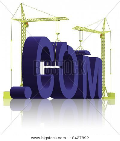 com building create your website get an url on the internet www under construction or maintenance 3D blue word in progress url build website building web building