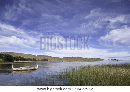reed boat at lake titicaca bolivia andes landscape peru bolivia border