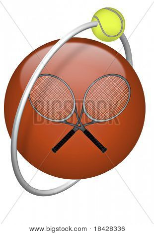 tennis ball yellow tennisball racket red 3D button isolated on white background