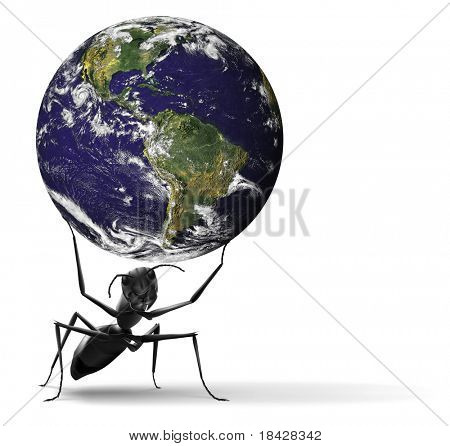 Nature Conservation Global Ecology Safe Fragile Planet Small Ant Lifting Blue Earth Preservation Sus