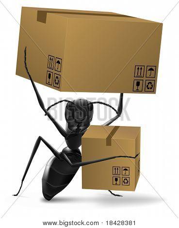 hormiga llevar dos cajas de cartón ordenar entrega enviando por correo o en el nuevo concepto de hogar