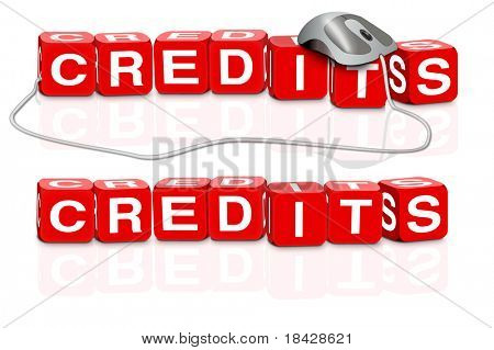 red dices spelling the word credits with or without mouse