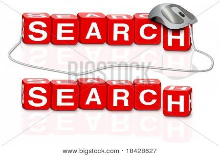 search internet online search browse internet red dices spelling the word search with or without mouse button
