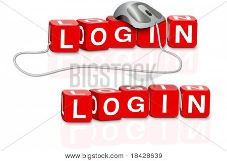 login icon or logon button red dices spelling the word login with or without mouse