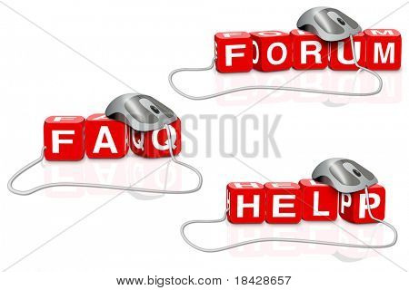 red dices writing the words forum help faq connected with mouse