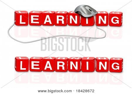 online learning e learning red dices spelling the word learn with or without mouse
