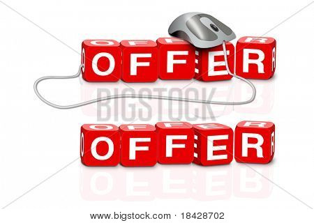 red dices spelling the word offer with or without mouse