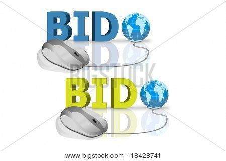 bid in red and blue letters connected with mouse