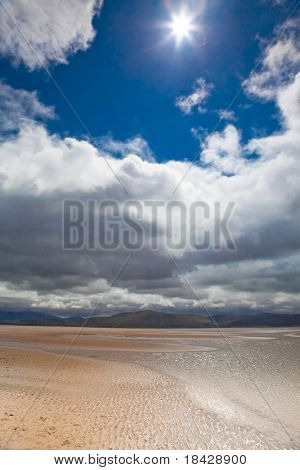 sparkling sun blue sky with white clouds and sandy beach at Dingle Peninsula Ireland nice background with copy space