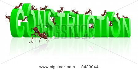 under construction website or web page building ants constructing word isolated image work in progress or maintenance