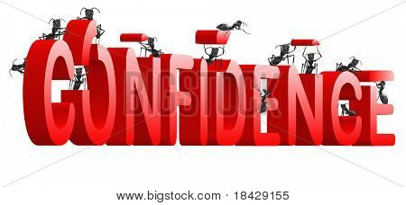 confidence building self esteem and belief psychology red word built by ants