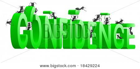 confidence building self esteem and belief psychology green text isolated on white