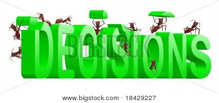 making decisions make choice choose direction yes or no decide initiative green text