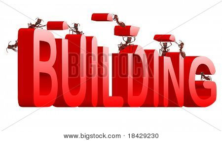 ants building red 3d word under construction creation realization