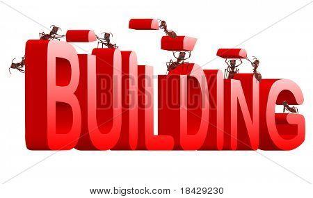 hormigas roja palabra 3d bajo realización de creación de construcción del edificio