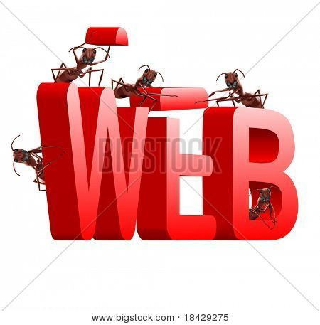 web website internet site under construction ants building word www