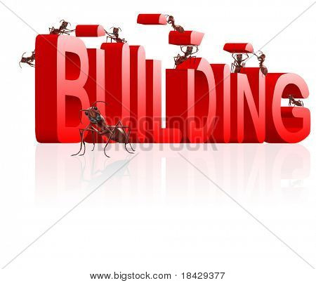 ants building word under construction creation realization engineering by insects red text