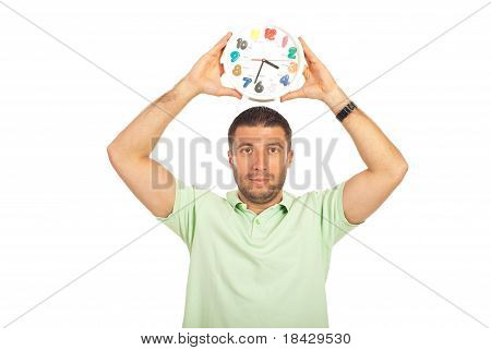 Man Holding Clock Over His Head