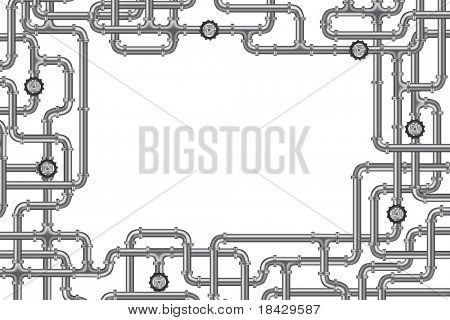 pipelines with valve and lots of copy space frame for plumbing water, gas or oil distribution sanitary industry plumber background frame isolated on white industrial engineering