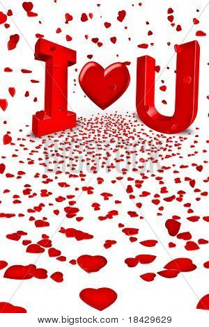 I love you with red hearts falling from sky concept for valentines day card or happy valentine letter