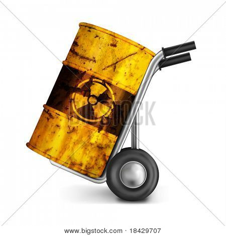 hand truck with rusty barrel of dangerous risky nuclear waste with radioactive atoms toxic pollution and environmental ecological risk of poison leaking environment radioactivity leak gamma radiation