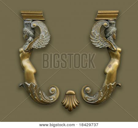 antique bronze decoration. Two ladies. Space for logo between them.