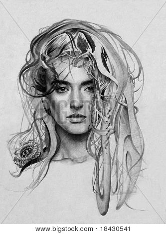 My own pencil drawing of young lady with fantasy hairs.