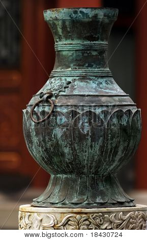Medieval chinese bronze vase. Visible oxidation.