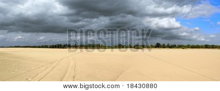 Panoramic dramatic view of empty Vistula riverbed in Poland. Very dry summer. Drought natural disaster.