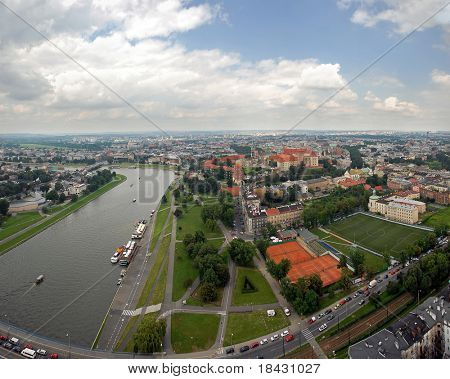 Panoramic view of Krakow city from flying baloon. Historical part in center of the image.