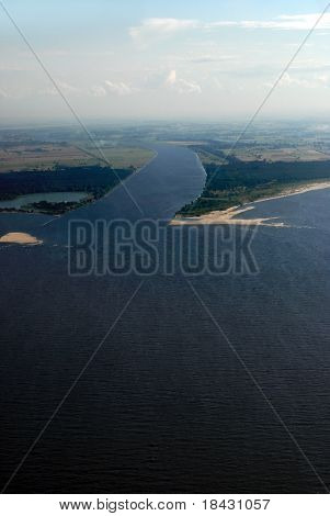 Estuary of Vistula river named Nogat into the Baltic sea. Aerial view.
