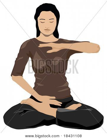 Young woman practicing yoga in lotus pose. Color illustration on white background.