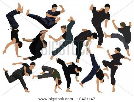 Kung Fu sport over ten poses vector color illustration.