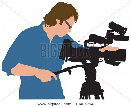 Vector illustration of professional working with camera