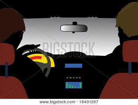 Auto-Motor-Vektor-Illustration. Blick von innen auf die Windschutzscheibe-Seite.