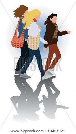 Small feminine walking group in casual clothes. Vector color illustration.