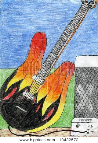 Child's drawing of electric guitar and amplifier. Made by child.