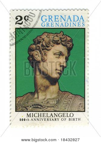 GRENADA - CIRCA 1975: A stamp printed in GRENADA dedicated artist Michelangelo di Lodovico Buonarroti Simoni 500th Anniversary of birth, circa 1975.