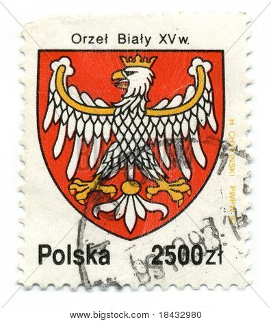 POLAND - CIRCA 1993: A stamp printed in POLAND shows image of the Polish coat of arms circa 1993.