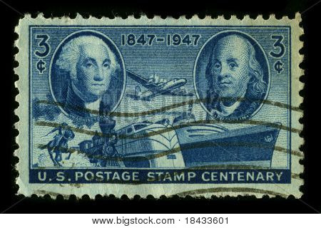 USA - CIRCA 1947: A stamp printed in USA shows image of the dedicated to the American Transportation circa 1947.