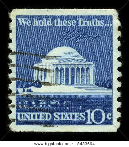 "USA - CIRCA 1980: A stamp printed in USA shows image of the dedicated to the ""We Hold These Truths"", a celebration of the 150th anniversary of the United States Bill of Rights circa 1980."