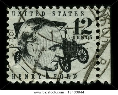 USA - CIRCA 1975: A stamp printed in USA shows image portrait Henry Ford (July 30, 1863 - April 7, 1947) was an American industrialist, founder of the Ford Motor Company, circa 1975.