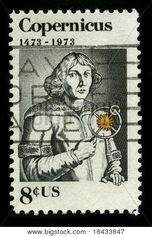 USA - CIRCA 1973: A stamp printed in USA shows image portrait Nicolaus Copernicus was a Renaissance astronomer and the first person to formulate a comprehensive heliocentric cosmology, circa 1973.