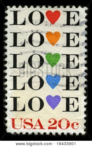 USA - CIRCA 1980: A stamp printed in USA shows image of the dedicated to the Love circa 1980.